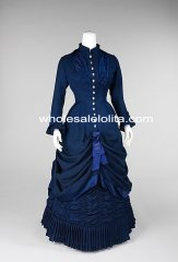 Custom Made 1870/80s Royal Blue Victorian Bustle Afternoon Dress