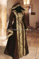 16th Century Medieval Dress Gown with Hood Sorceress Gown Witch Medieval Fantasy Costume