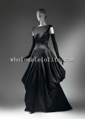 Late 1940s Fashion American Culture Sexy Back Black Silk Evening Dress