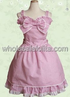 Pretty Pink Cotton Sweet Lolita Dress with A Big Bow