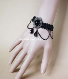 Retro Gothic Black Man-made Crystal Simple Ladies Bracelet