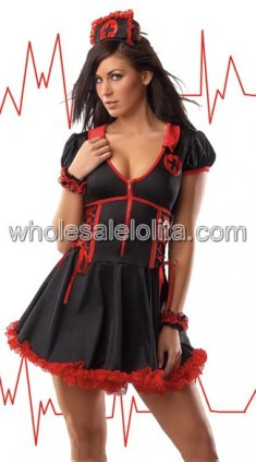 Black and Red Polyester Low-cut Front Zipper Sexy Nurse Uniform