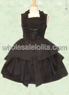 Black Sleeveless Pleated Cotton Punk Lolita Dress