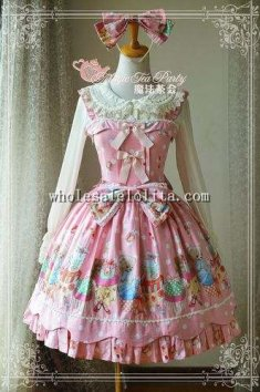 Lovely Bear Printing Cotton Tea Party JSK Sweet Lolita