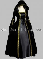 Gothic Black and Gold Trim Historical Court Dress Witch Costume