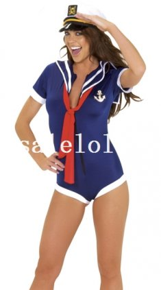Halloween Sexy Blue Lady Sailor/Navy Halloween Costume Night Wear