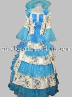 17 18th Century Blue Floral Rococo Marie Antoinette European Court Dress Stage Costume