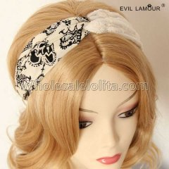 Vintage Chiffon and Lace Headband Masquerade Accessories
