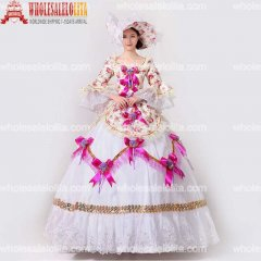 2017 New Floral Printed Marie Antoinette Masquerade Dresses Renaissance Southern Belle Ball Gowns Theatrical Clothing