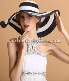 British Black and White Stripes Paper Straw Wide Birm Kentucky Derby Hat