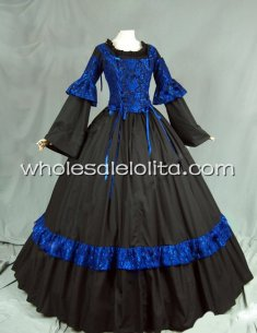 16th Century Renaissance Period Dress Gothic Blue and Black Ball Gown Reenactment Costume
