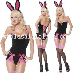 Sexy Black and Pink Bunny Girl Halloween Costume Sleepwear