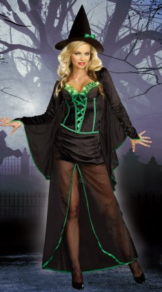 2013 Halloween Black Long Sexy Female Witch Costume
