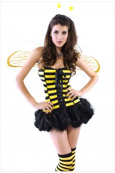 Halloween Sexy Yellow Lace Up Bubble Skirt Bee Costume