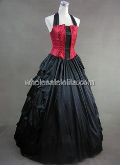 New Style Black and Red Halter Victorian Inspired Ball Gown Gothic Theme Party Dress