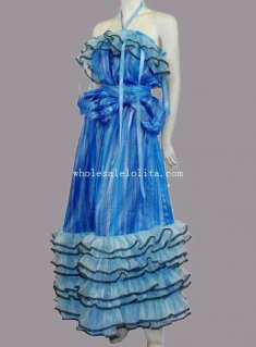 Movie Alice in Wonderland Alice Cosplay Costume Blue Dress for Adult