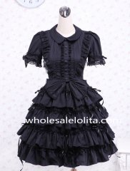Black Bow Multi-layer Cotton Turndown Collar Gothic Lolita Dress
