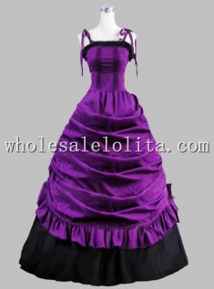 19th Century Gothic Black and Purple Sleevelss Victorian Prom Dress