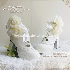 Luxury Pure White 7.5cm Chunky Heel Round Toe Winter Princess Lolita Shoes