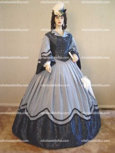 Dark and Light Blue Bengaline Civil War Day/Visiting Gown
