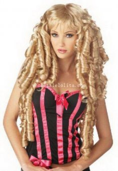 Halloween Fancy Dress Costume Party Gold Curly Cosplay Wig