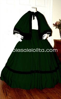 Green Civil War Reenactment Dickens Victorian Period Dress Christmas Carol Costume
