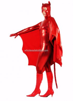 Red Shiny Metalic Catwoman Catsuit