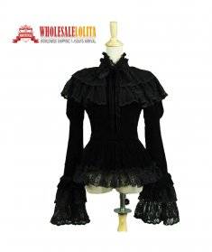 Gothic Victorian Black Velvet Blouse Top Steampunk Witch Vampire Theatre Costume