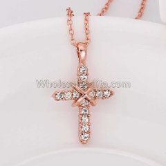 Fashionable Platnium Rose Gold Necklace with Tied Cross Pendant for Versatile Occasions N2