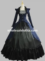 Victorian Blue and Black Steampunk Period Dress Masquerade Ball Gown Theatre Costume