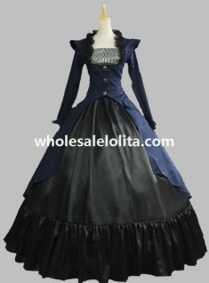 Gothic Victorian Navy Blue and Black 3-PC Gown Period Dress Theatre Reenactor Clothing