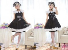 Slim Cotton Black Lolita Dress Sailor Style Dress JSK