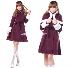 Cheap Cute Burgundy Wool Sweet Winter Coat