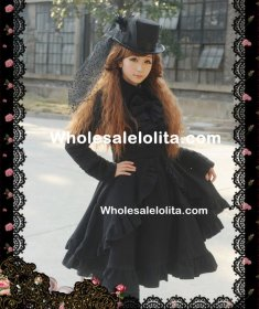 British Style Long Sleeves Black Wool Classic Lolita Coat