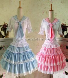 Royal Barbie Lolita Dress School Style Girls Prom Dress Cosplay Sailor Dress costume with Tie