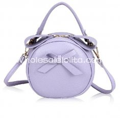 Cute Small Lavender Bow Round Bag Sweet Lolita Bag