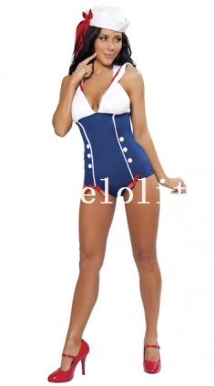 Halloween Sexy Blue and White Lady Sailor/Navy Halloween Costume Night Wear
