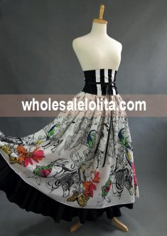 Printing High Waist Long Victorian Skirt