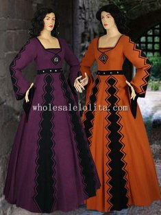 Italian Style Medieval Costume Gown Countess Natural Cotton Handmade Maiden Gown Renaissance Clothing
