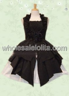 Black Halter Sleeveless Cotton Gothic Punk Lolita Dress