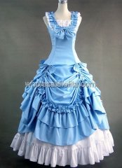 Victorian Sky Blue and White Civil War Southern Belle Lolita Ball Gown Dress