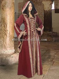 Custom Made Red Brocade Medieval Dress Maid Marian Costume Tavern Maid