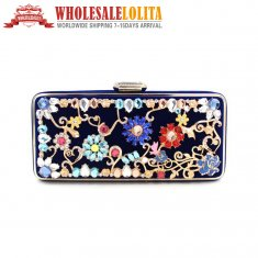 Pure Manual Nail Bead Dress Bag Handbag Wedding Blue Dinner Ladies Bags