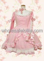 Pink Long Sleeves Bow Ruffled Lace Cotton Sweet Lolita Dress