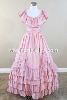 Mid 19th Century Victorian Pink Satin Ruffles and Lace Civil War Southern Belle Ball Gown Reenactment Dress