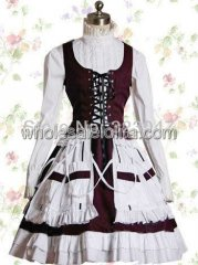 Custom Made White And Bordeaux Cotton Stand Collar Bandage Sweet Lolita Dress