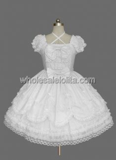 White Bow Multilayer Cotton Sweet Lolita Dress