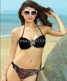 2014 Summer Sexy Black Helter Bikini Set with Rhinestone Flower