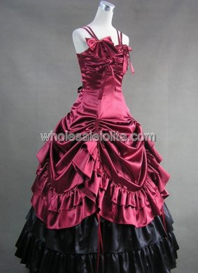 Spaghetti Burgundy and Black Victorian Lolita Dress Wedding Southern Belle Gown Prom Dress