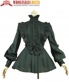 Victorian Gothic Pleated Steampunk Black Blouse Top Shirt Theater Vampire Reenactment Clothing